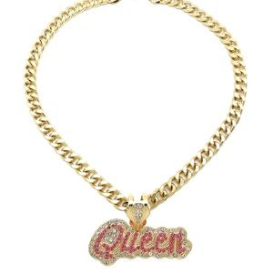 ICED OUT CELEBRITY QUEEN PENDANT NECKLACE